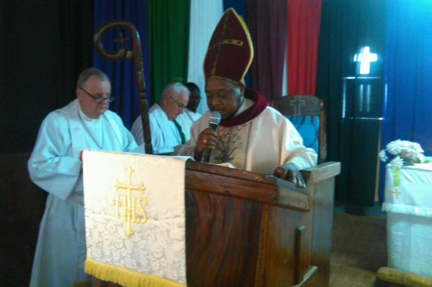 ELCSS/S Bishop Rev. Peter Anibati Abia leads opening services for CLIHM seminary in South Sudan.