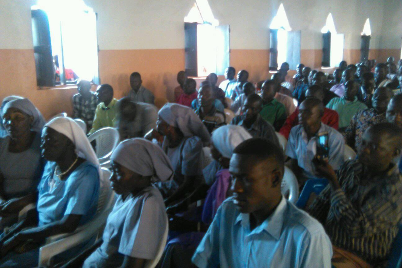 Students participate in the opening service for the CLIHM seminary in South Sudan