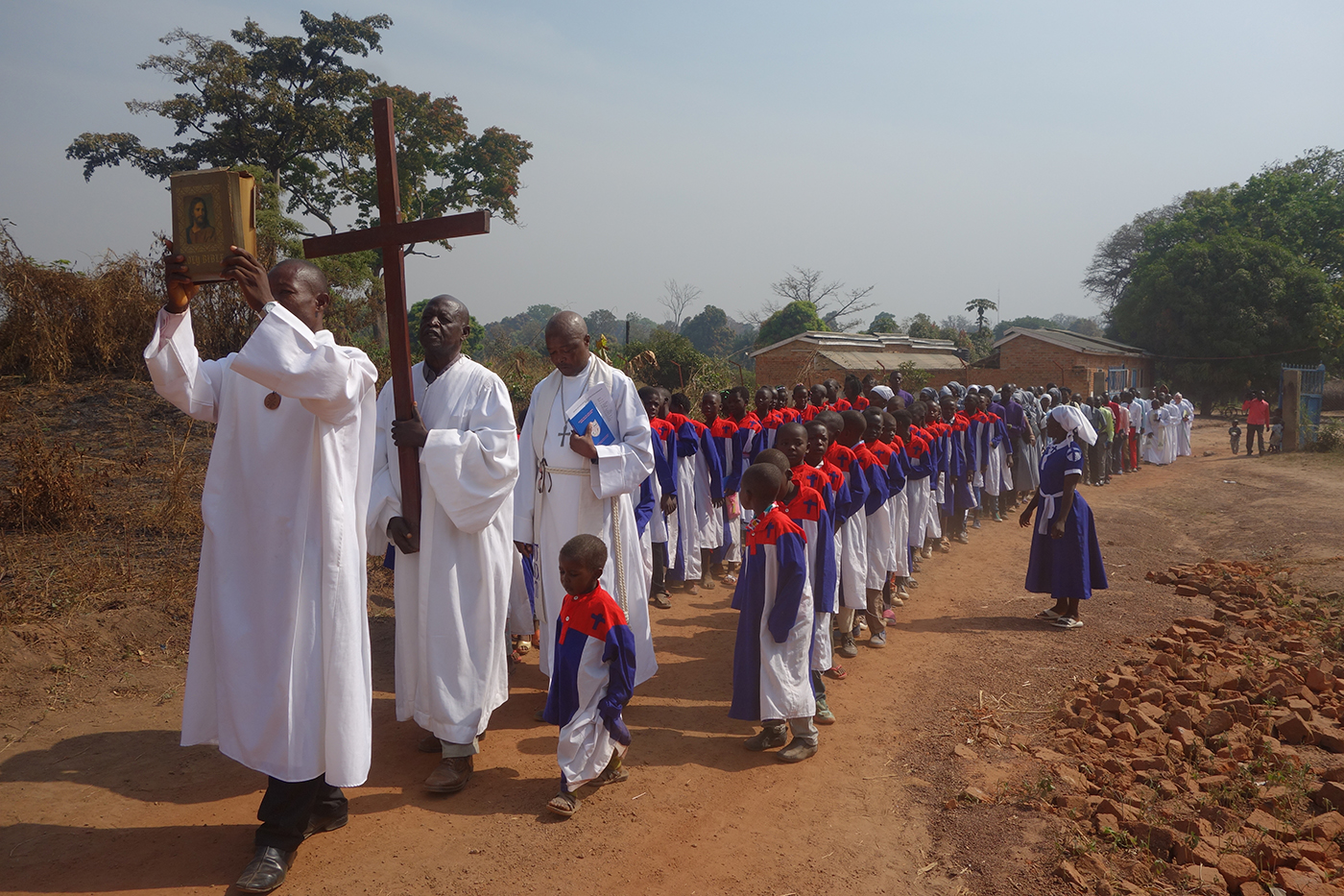 Procession of pastors and children's choir through Yambio, South Sudan