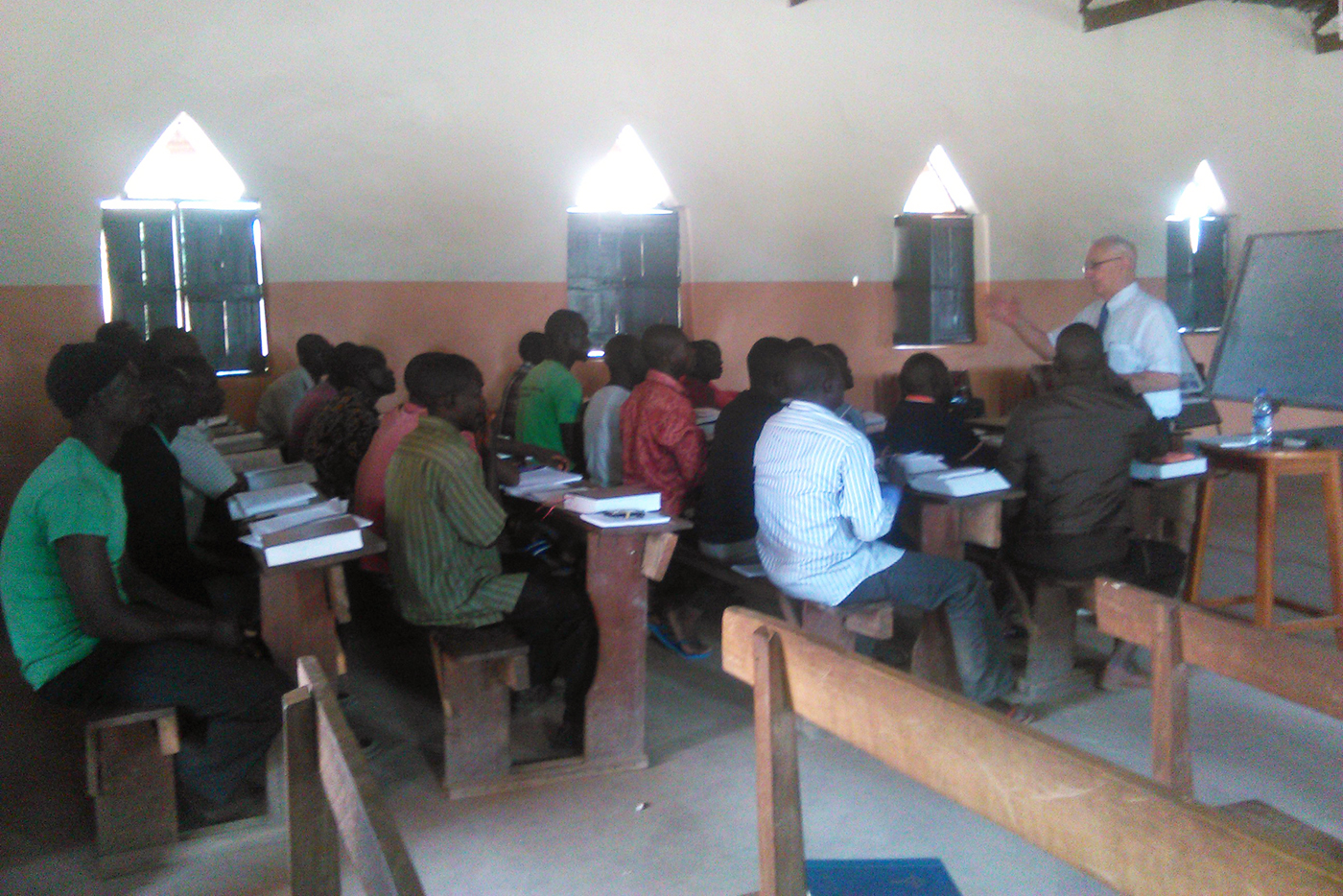 Students at the Sudan seminary attend their first day of class