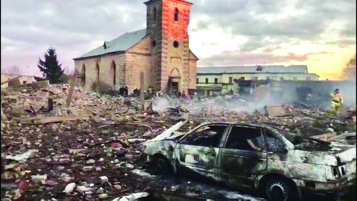 St. Peter church stands amidst rubble and smoke in Russia